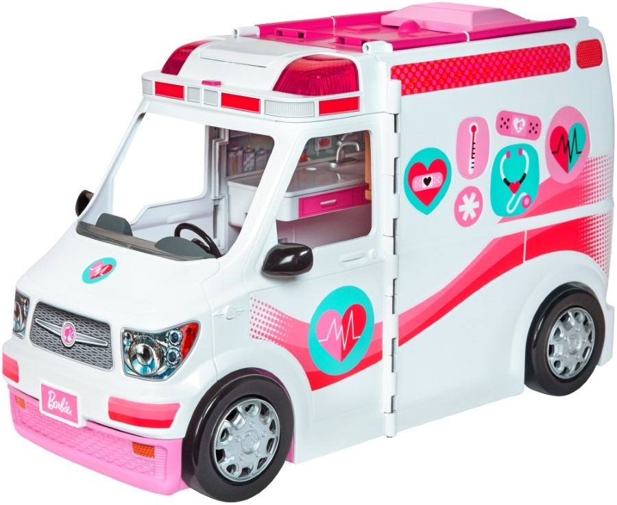 Barbie, karetka – mobilna klinika, światło i dźwięk, zestaw bez lalek Smyk 6353901