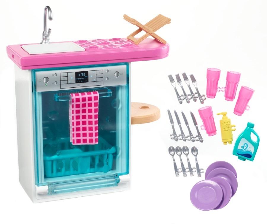 Barbie, zmywarka i zlew, zestaw mebli i akcesoriów dla lalki Smyk 6422368