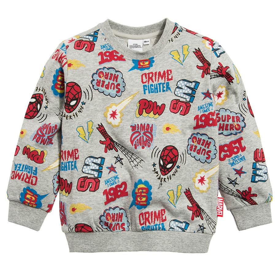 Cool Club, Bluza chłopięca, szara, Spider-Man