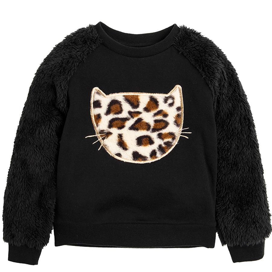 Cool Club, Bluza dziewczęca, czarna, kot