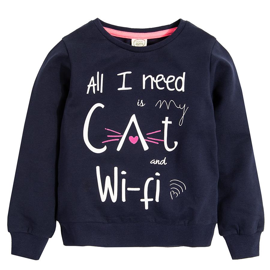 Cool Club, Bluza dziewczęca, granatowa, All I need is my cat and Wi-fi