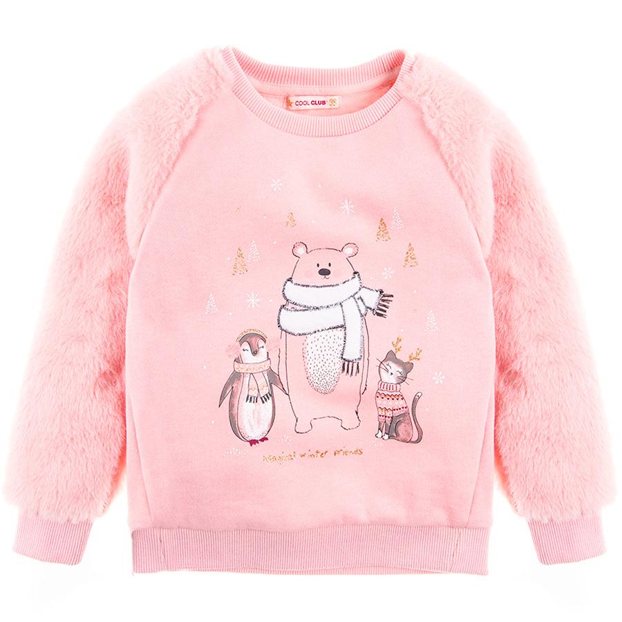 Cool Club, Bluza dziewczęca, różowa, miś, pingwin, kot