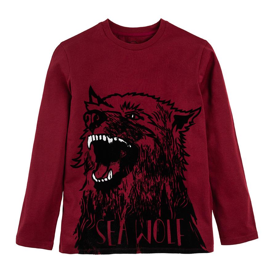 Cool Club, Bluzka chłopięca z długim rękawem, bordowa, Sea wolf