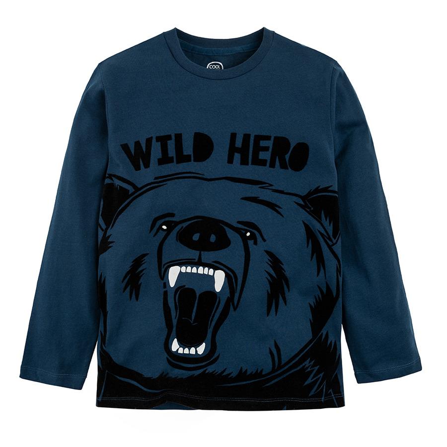 Cool Club, Bluzka chłopięca z długim rękawem, niebieska, Wild hero
