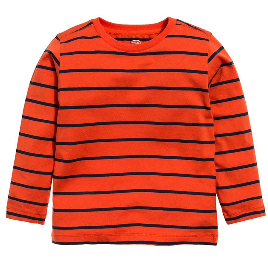 Cool Club, Bluzka chłopięca z długim rękawem, pomarańczowa, paski