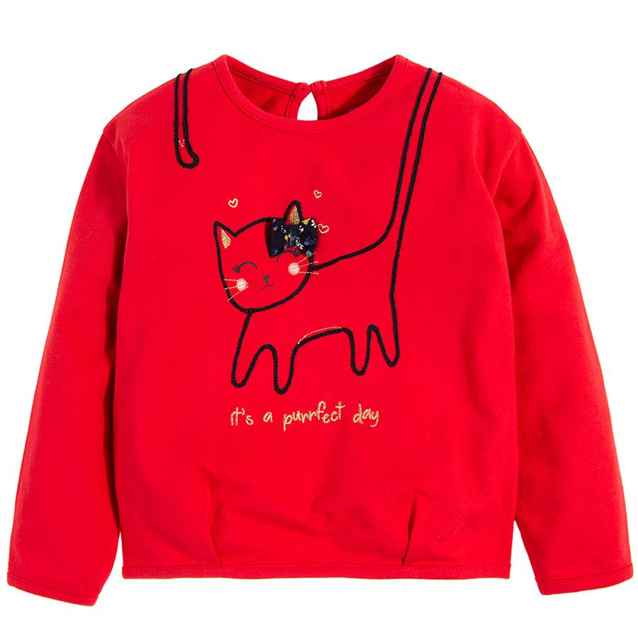 Cool Club, Bluzka dziewczęca z długim rękawem, czerwona, kot