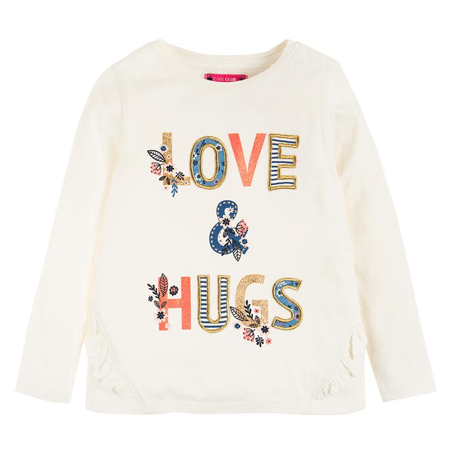 Cool Club, Bluzka dziewczęca z długim rękawem, ecru, Love & hugs