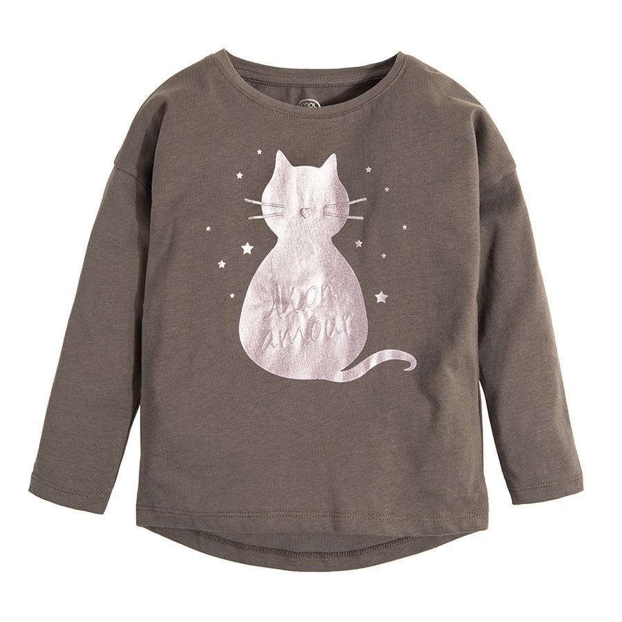 Cool Club, Bluzka dziewczęca z długim rękawem, grafitowa, kotek