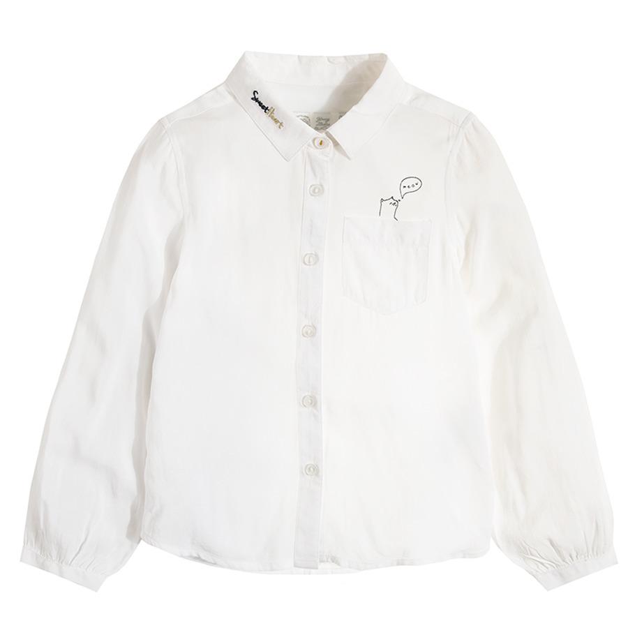 Cool Club, Koszula dziewczęca z długim rękawem, biała, kieszonka z kotkiem, Meow