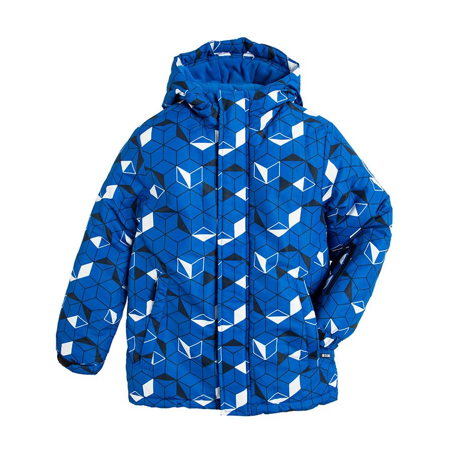 Cool Club, Kurtka narciarska chłopięca z kapturem, niebieska, geometryczny wzór