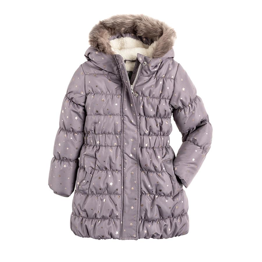 Cool Club, Płaszcz zimowy dziewczęcy, szary, gwiazdki