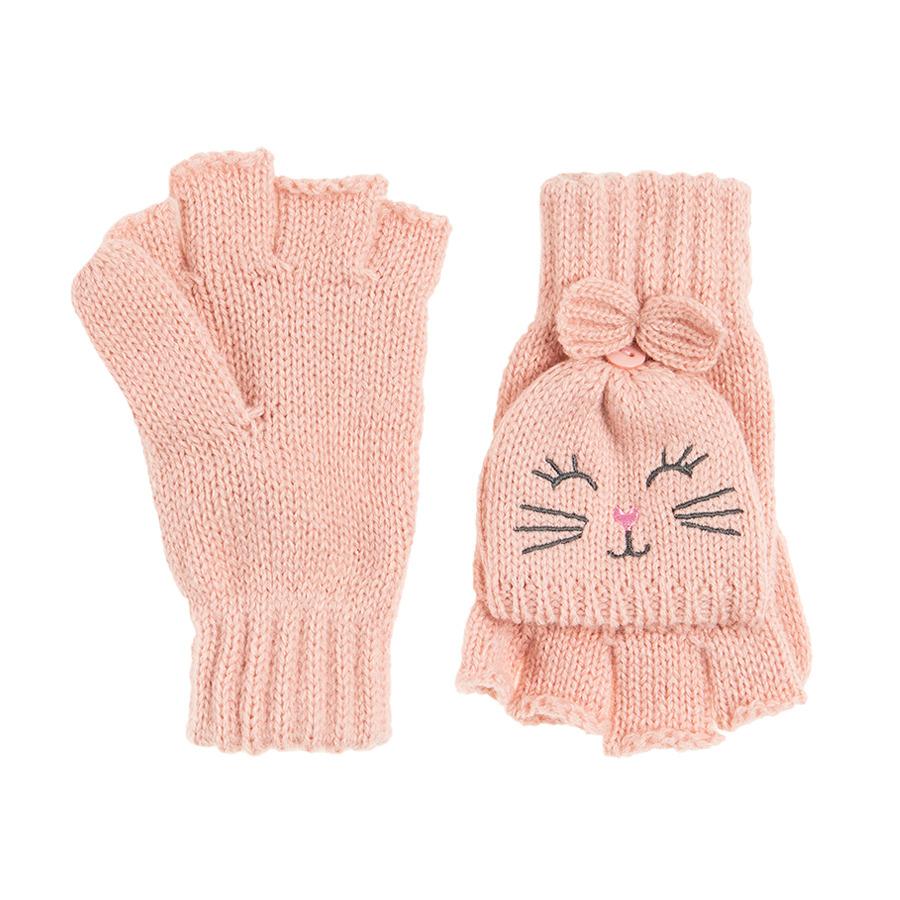 Cool Club, Rękawiczki dziewczęce, pięciopalczaste z klapką, różowe