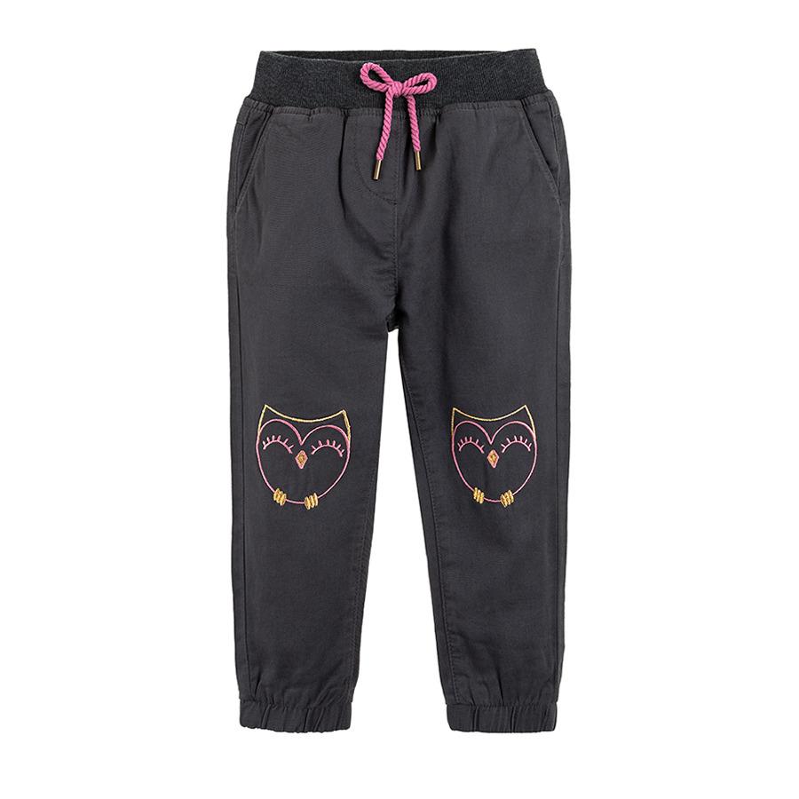 Cool Club, Spodnie dresowe dziewczęce, szare, sowy
