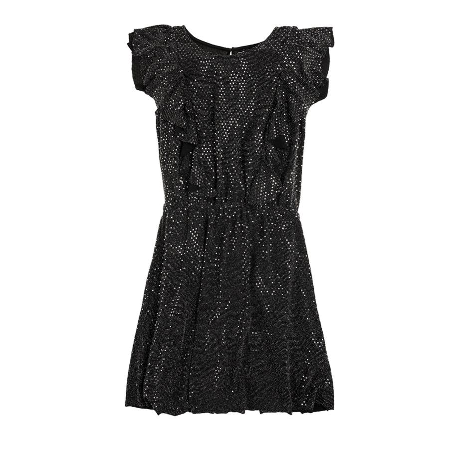 Cool Club, Sukienka dziewczęca z krótkim rękawem, czarna, srebrny wzór