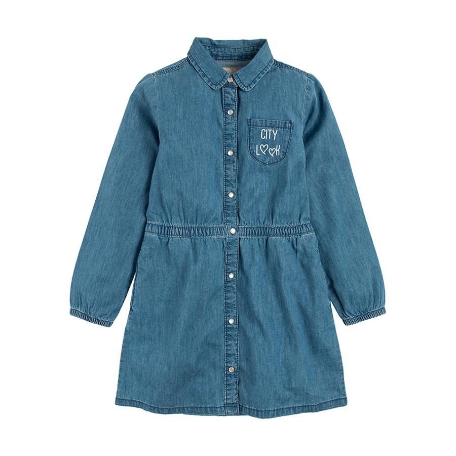 Cool Club, Sukienka jeansowa dziewczęca, długi rękaw, City look