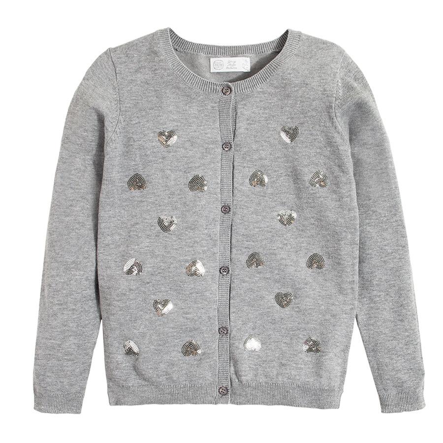 Cool Club, Sweter dziewczęcy, szary, rozpinany, serca
