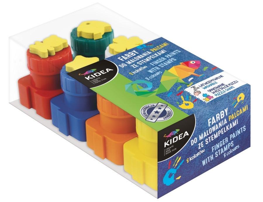 Derform, kidea, farby do malowania palcami ze stempelkami, 8 szt. Smyk 6441328