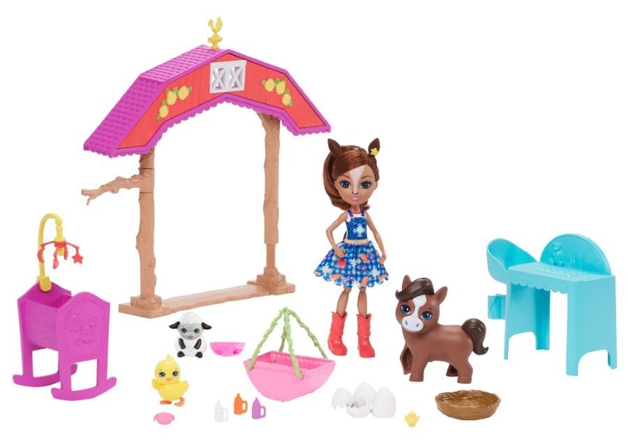 Enchantimals, żłobek na farmie, zestaw z lalką, zwierzątkami i akcesoriami Smyk 6609402