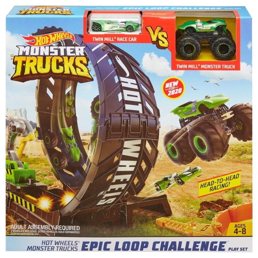 Hot wheels, monster trucks, monster pętla, zestaw torów Smyk 6609425
