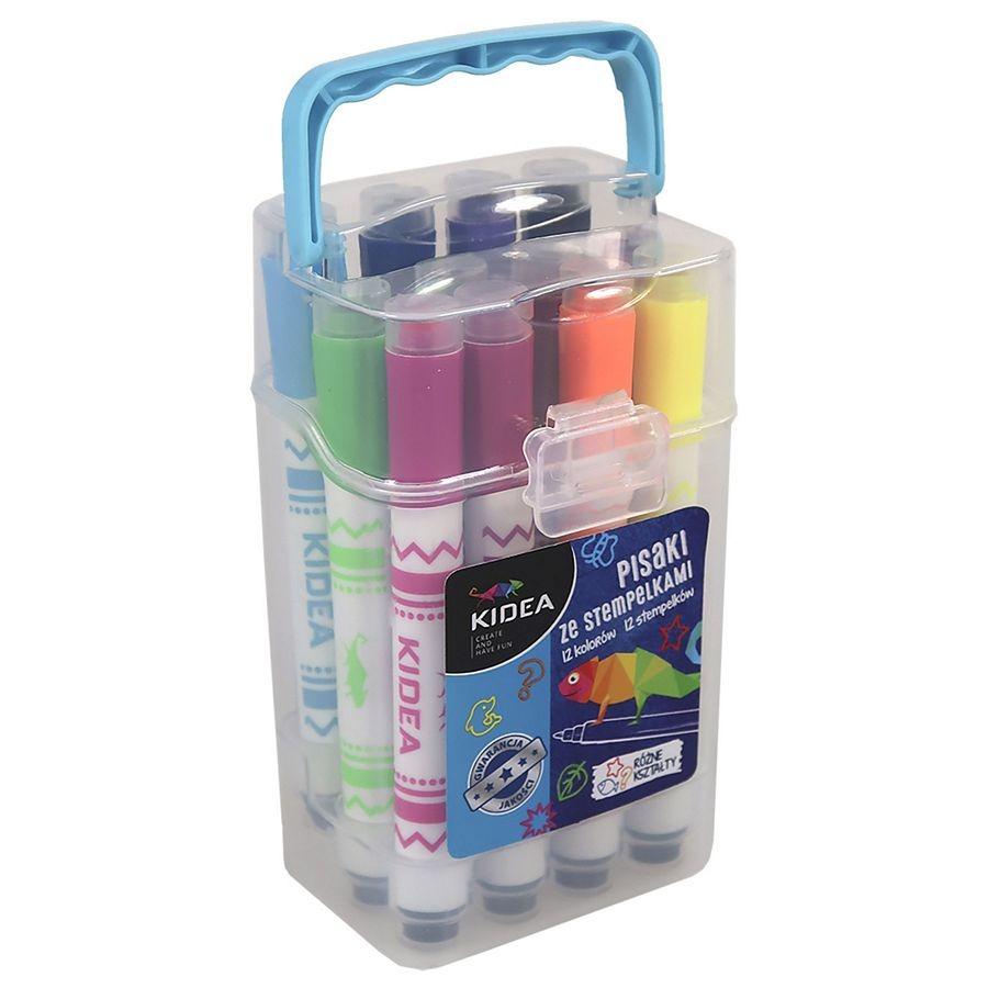Kidea, pisaki ze stempelkami w pudełku, 12 kolorów Smyk 6124295