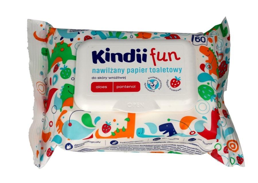 Kindii fun, nawilżany papier toaletowy dla dzieci, 60 szt. Smyk 6461121