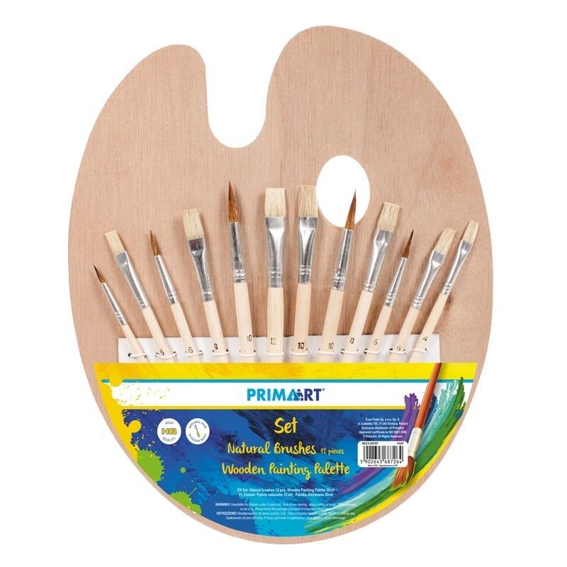 Prima art, pędzle naturalne, 12 szt., paletka drewniana, 30 cm, zestaw Smyk 6356169