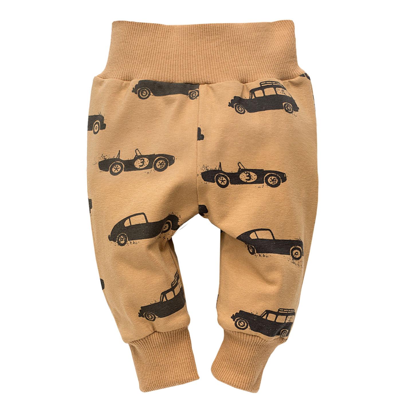 Spodnie dresowe chłopięce, brązowy karmelowy, old cars, pinokio Smyk 6402480