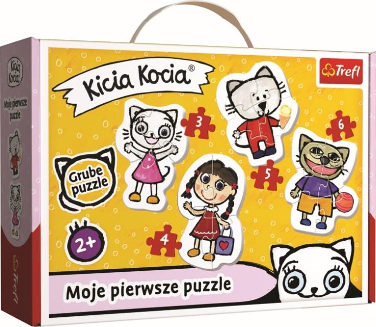 Trefl, kicia kocia, baby classic – wesoła kicia kocia, puzzle, 18 elementów Smyk 6614884