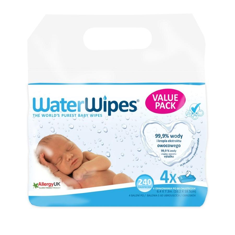 Waterwipes, chusteczki nasączane czystą wodą, 4×60 szt. Smyk 6654367