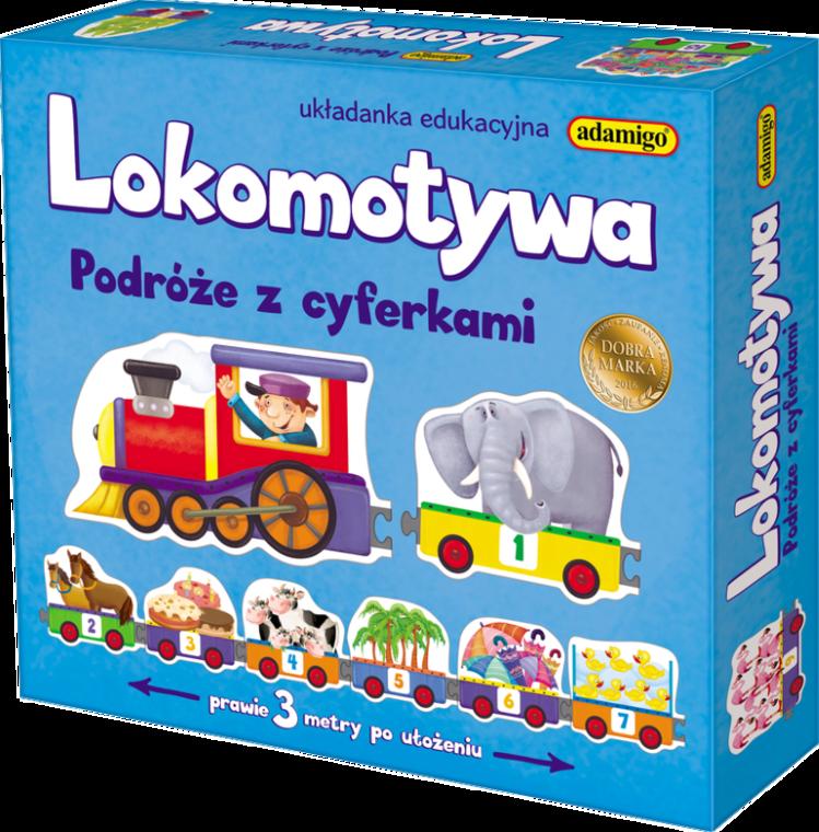 Adamigo, Lokomotywa, podróże z cyferkami, puzzle, 21 elementów