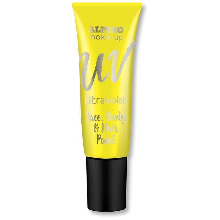 Alpino, farbka UV do malowania twarzy i ciała w tubie, żółta, 10 ml