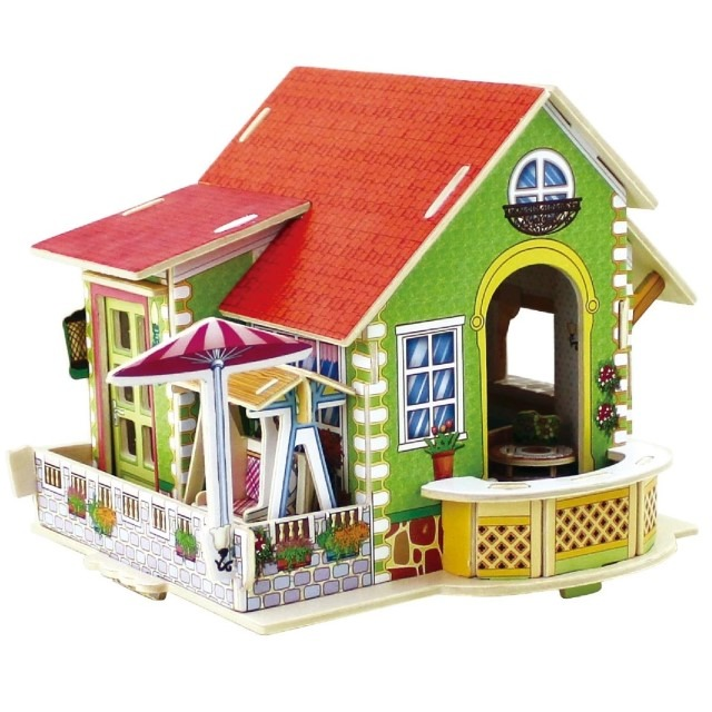 Anek Dla Dzieci, drewniany dom z meblami, puzzle 3D, 70 elementy