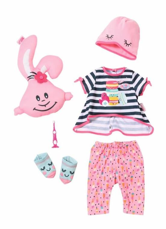 Baby Born, Piżama Party, zestaw ubranek dla lalki, szczoteczka, maskotka