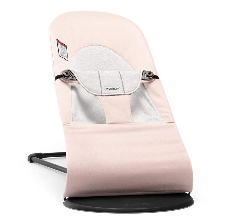 BabyBjörn, Balance Soft Cotton Jersey, leżaczek, różowo-szary