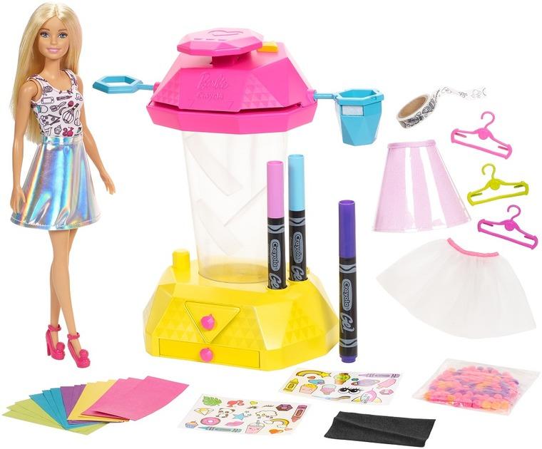 Barbie Crayola, Studio spódniczek konfetti, zestaw kreatywny z lalką i akcesoriami