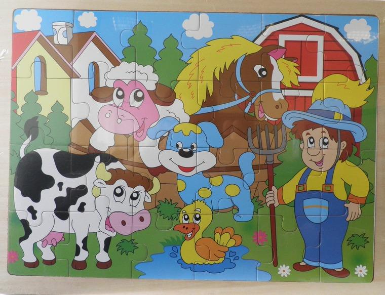 Anek Dla Dzieci, Farma, puzzle drewniane, 24 elementy