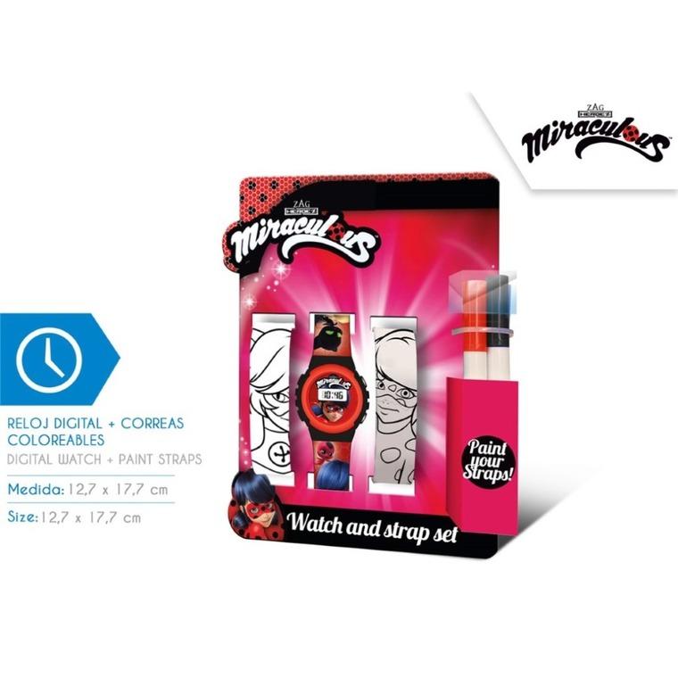 Miraculum: Biedronka i Czarny Kot, zegarek na rękę, dodatkowe paski do kolorowania, zestaw