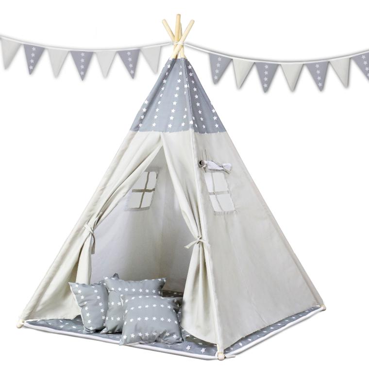 Ricokids, tipi w gwiazdki, namiot dla dzieci z poduszkami