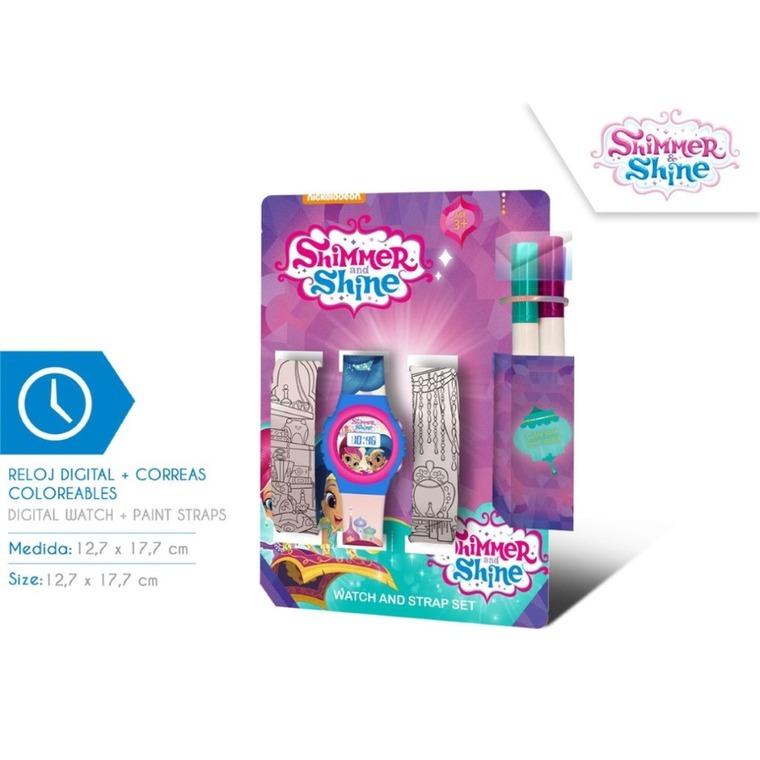 Shimmer i Shine, zegarek na rękę, dodatkowe paski do kolorowania, zestaw