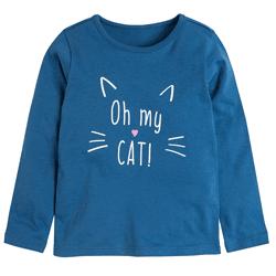 Cool Club, Bluzka dziewczęca z długim rękawem, niebieski, Oh my cat