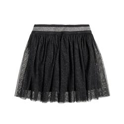 Cool Club, Tiulowa spódnica dziewczęca, szara, srebrne kropki