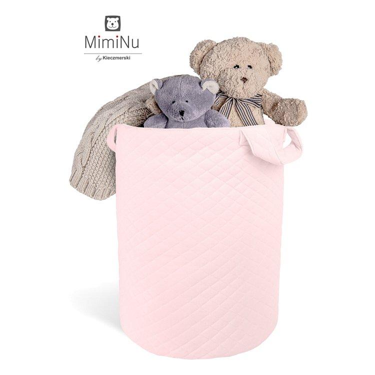 MimiNu, Velvet pikowany, kosz na zabawki, różowy