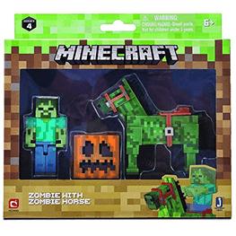 Minecraft, Zombie z zombie koniem, zestaw figurek