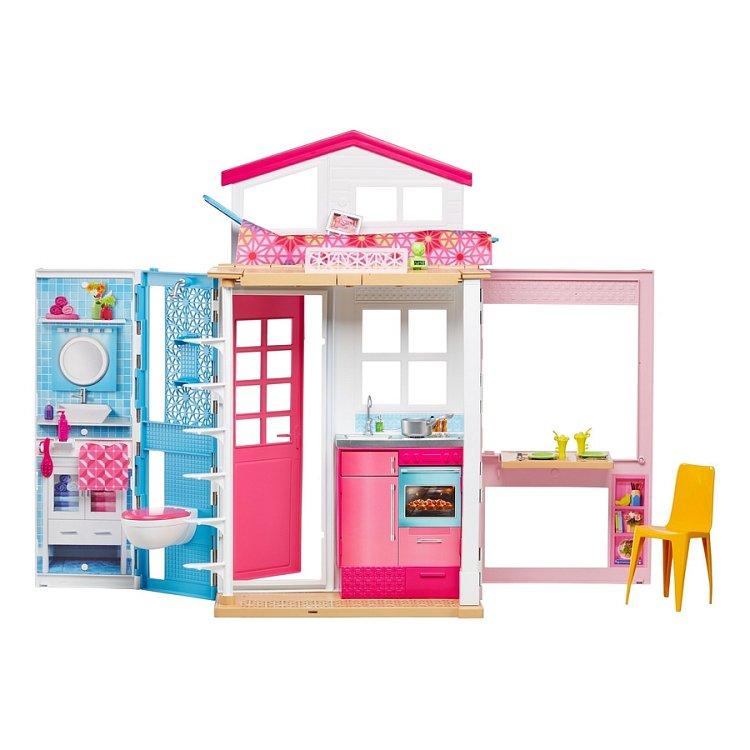 Barbie, 2-poziomowy domek Barbie, zestaw bez lalki