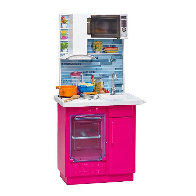 Barbie, Minikuchnia, zestaw z lalką i akcesoriami