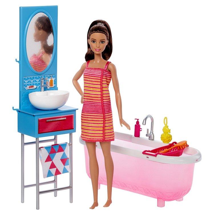 Barbie, Miniłazienka, zestaw z lalką i akcesoriami