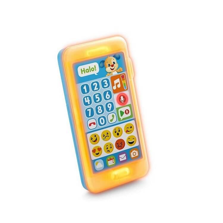 """Fisher-Price, Uczący smartfonik Szczeniaczka """"Nagraj wiadomość"""", niemowlęca zabawka interaktywna"""